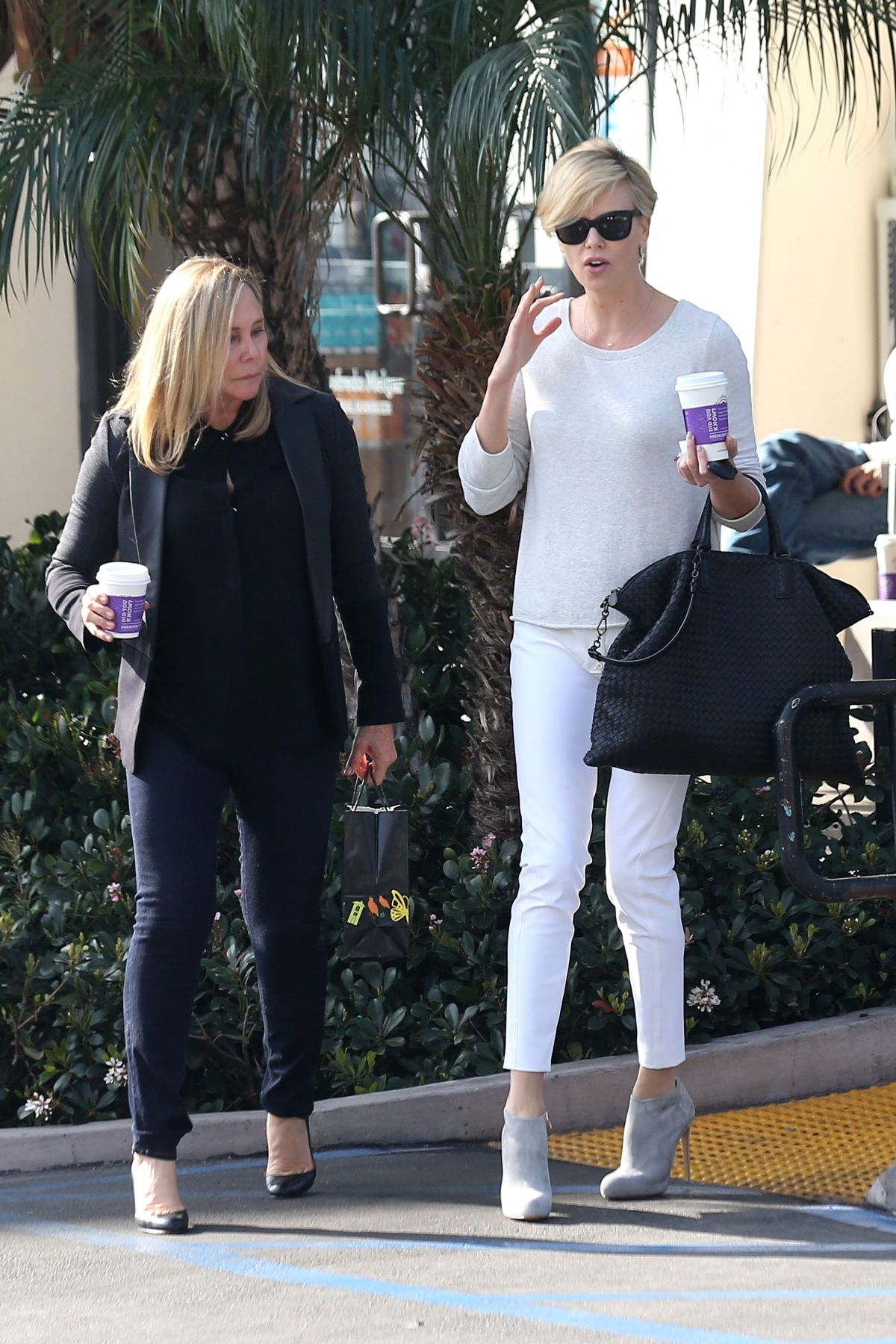 CHARLIZE THERON with Her Mom Out for Some Coffee in Los Angeles