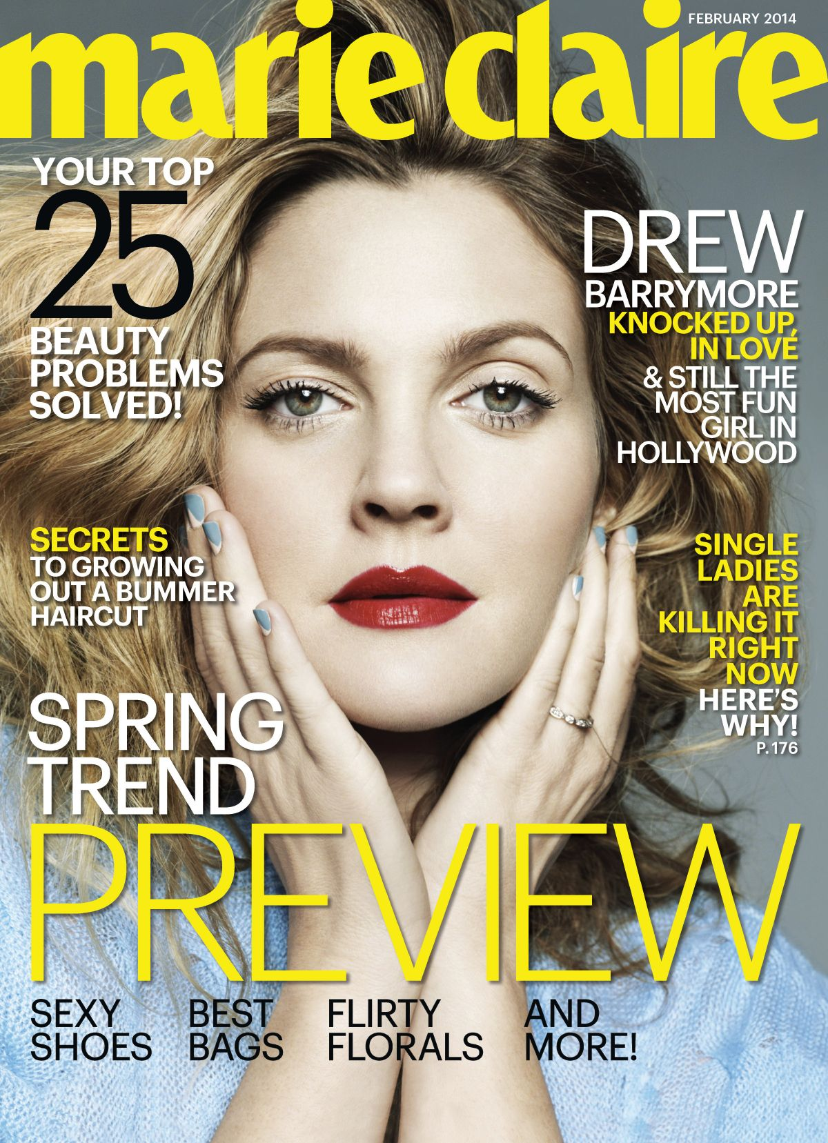 DREW BARRYMORE on the Cover of Marie Claire Magazine, February 2014