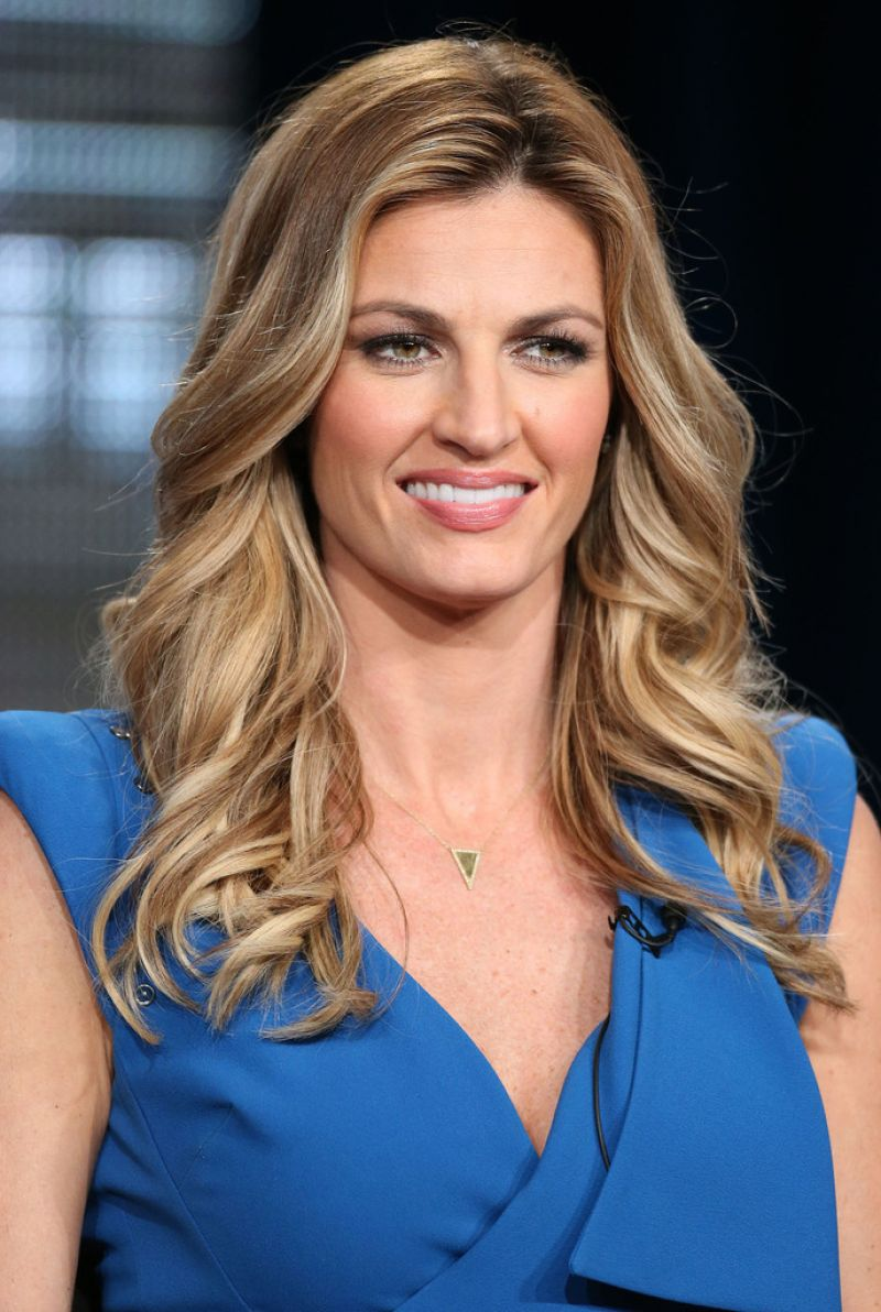 Erin Andrews - 2018 Regular Blond hair & Bun hair style. Current length:  long hair (mid-back length)