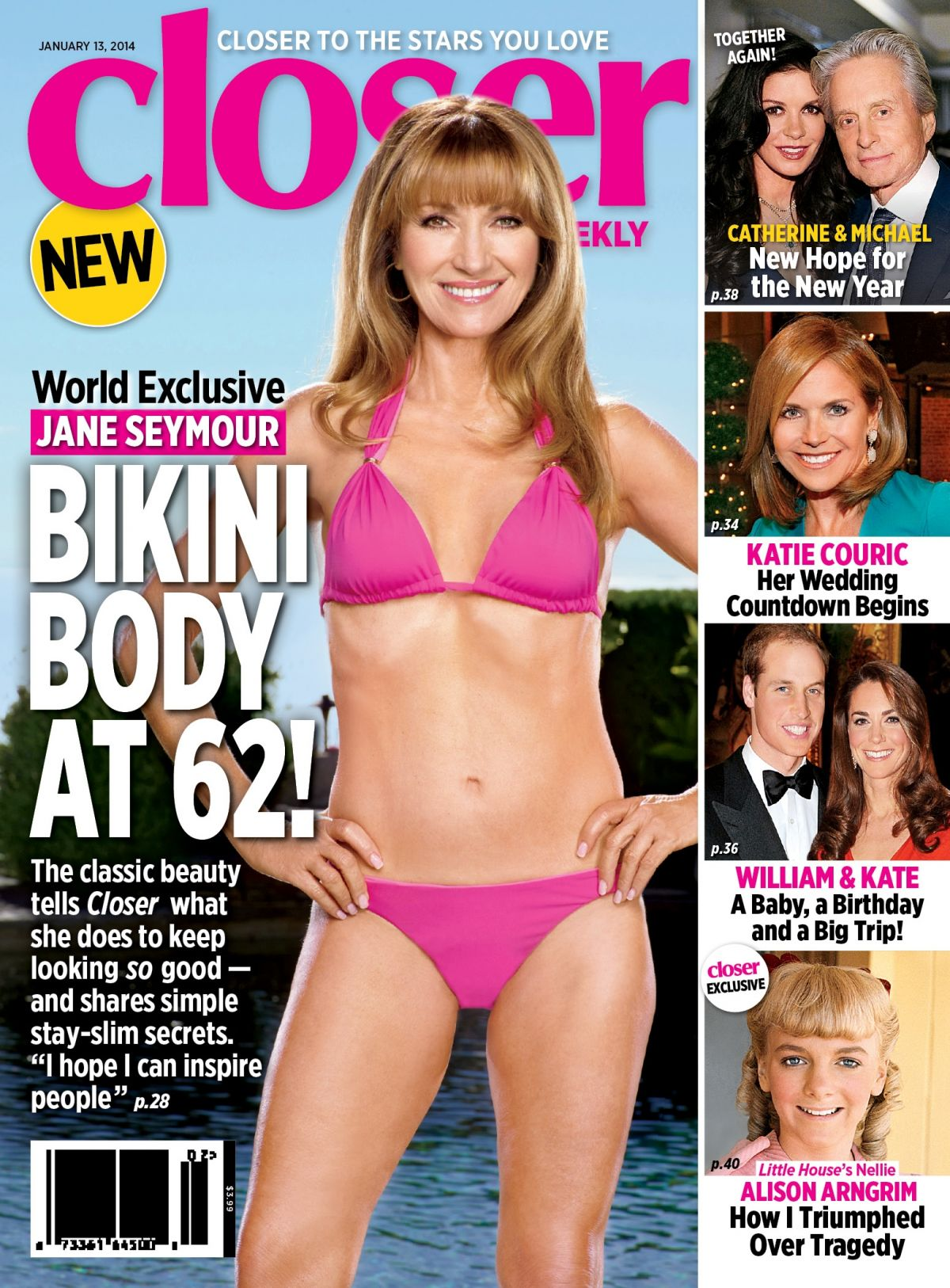 JANE SEYMOUR in Bikini on the Cover of Closer Weekly Magazine, January 2014 Issue