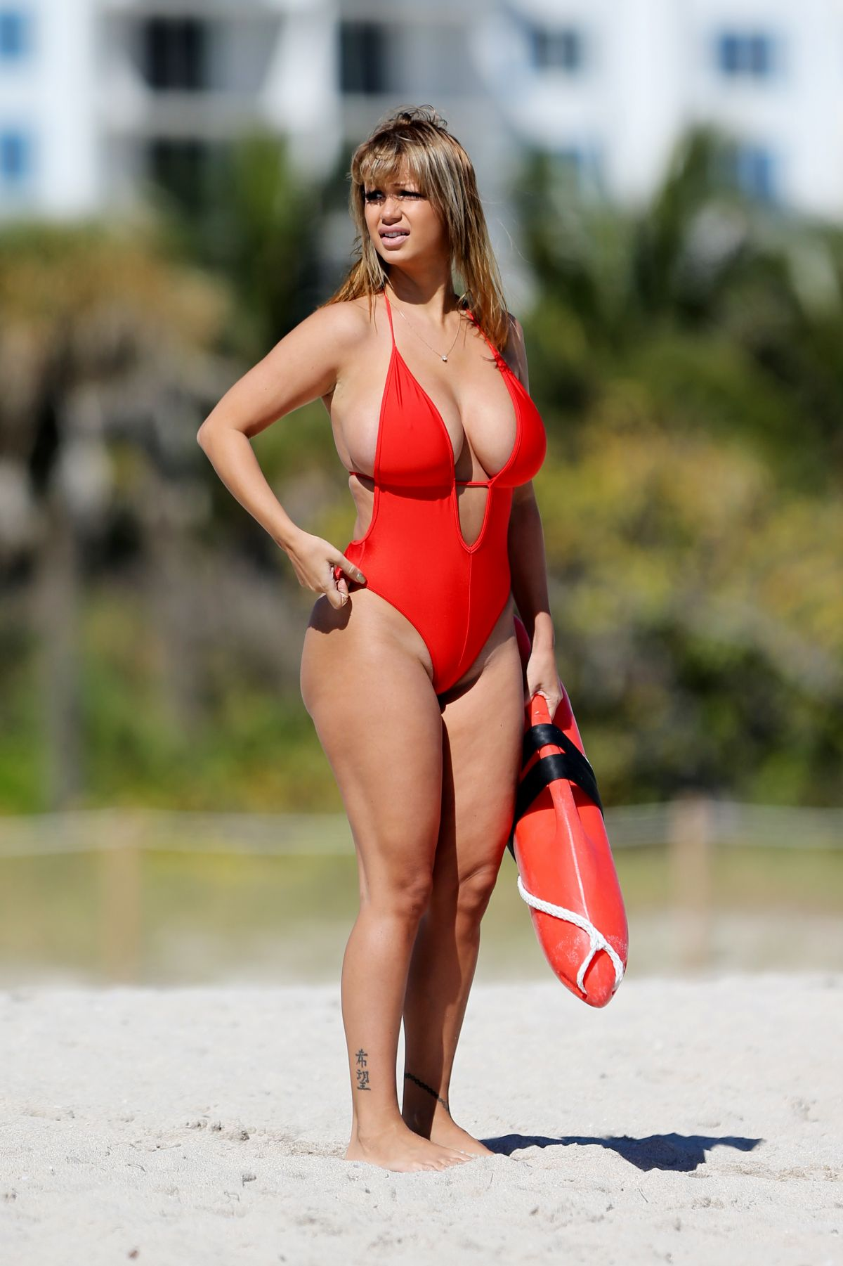 JOLENA FORDE in Baywatch Swimsuit at a Beach in Miami