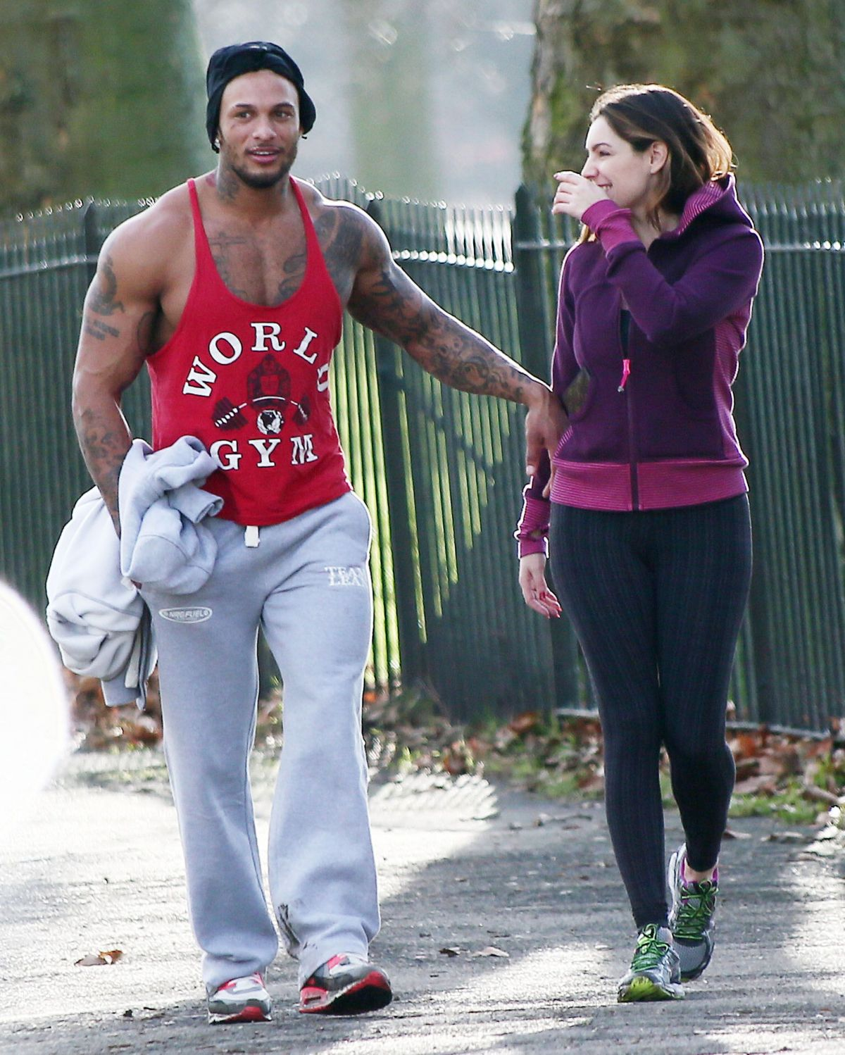 KELLY BROOK in Leggings Working Out with David McIntosh in London