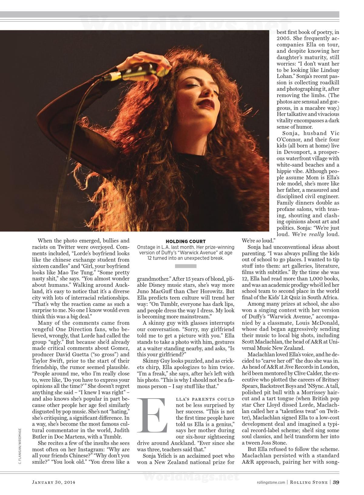 LORDE in Rolling Stone Magazine, January 2014 Issue