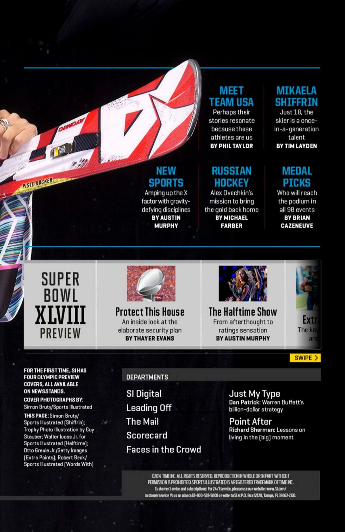 Mikaela Shiffrin Sports Illustrated Magaznie February