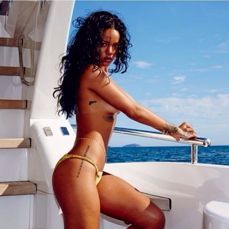 RIHANNA in A Golden Bikini - Instgram Photos