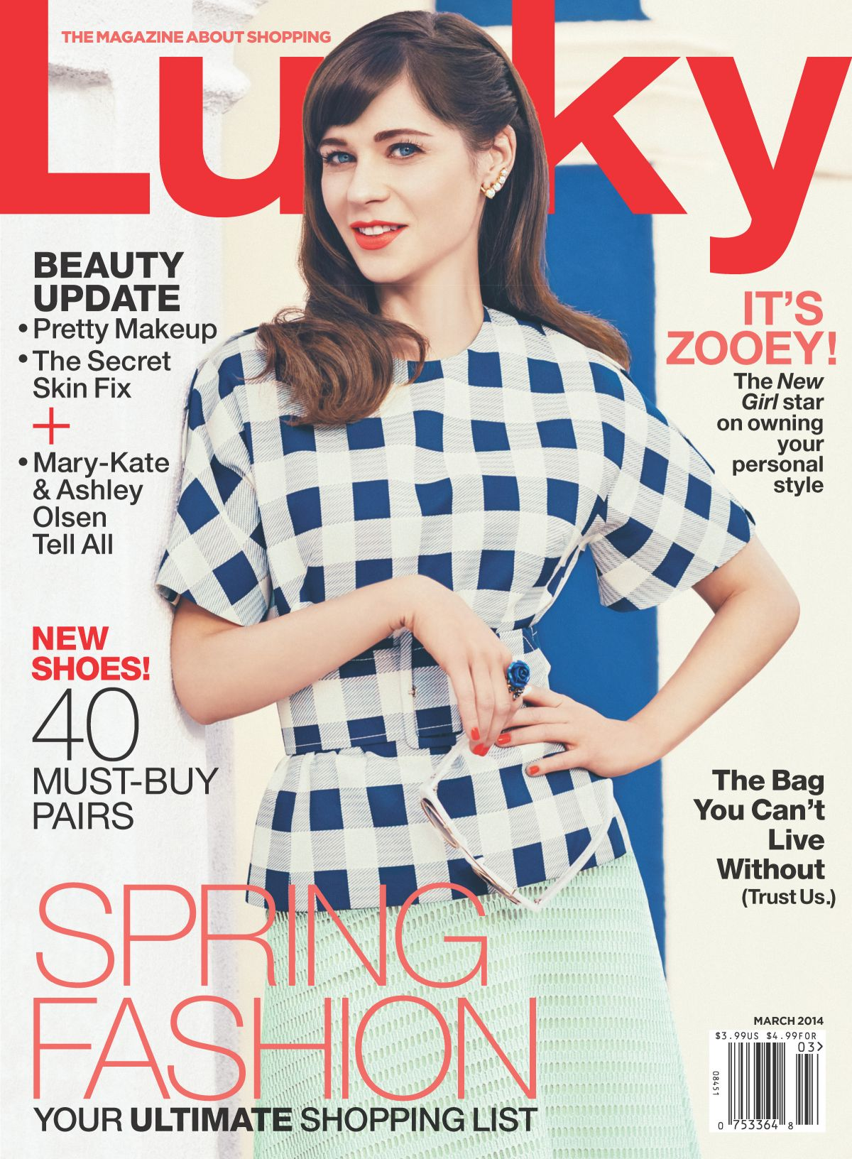 Lucky Magazine May 11: ZOOEY DESCHANEL On The Cover Of Lucky Magazine, March 2014