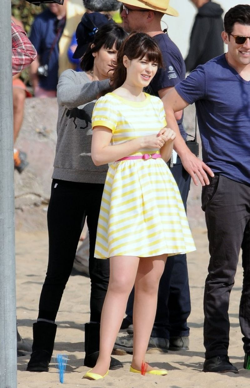 ZOOEY DESCHANEL on the Set of The New Girl on the Beach in