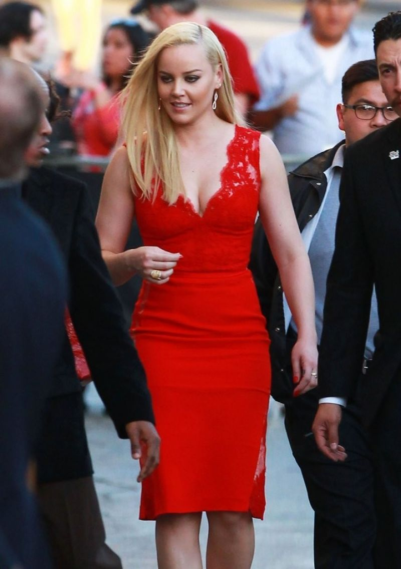 ABBIE CORNISH Arrives at Jimmy Kimmel Live Show in Hollywood