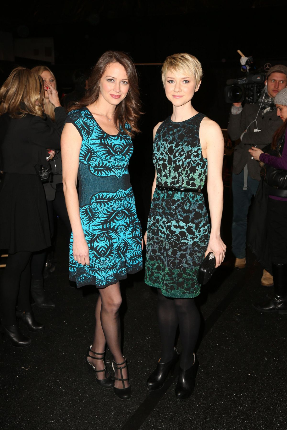 AMY ACKER at Nicole Miller Fashion Show in New York