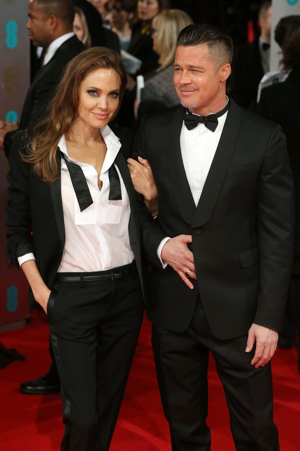 ANGELINA JOLIE and Brad Pitt at 2014 Bafta Awards in London