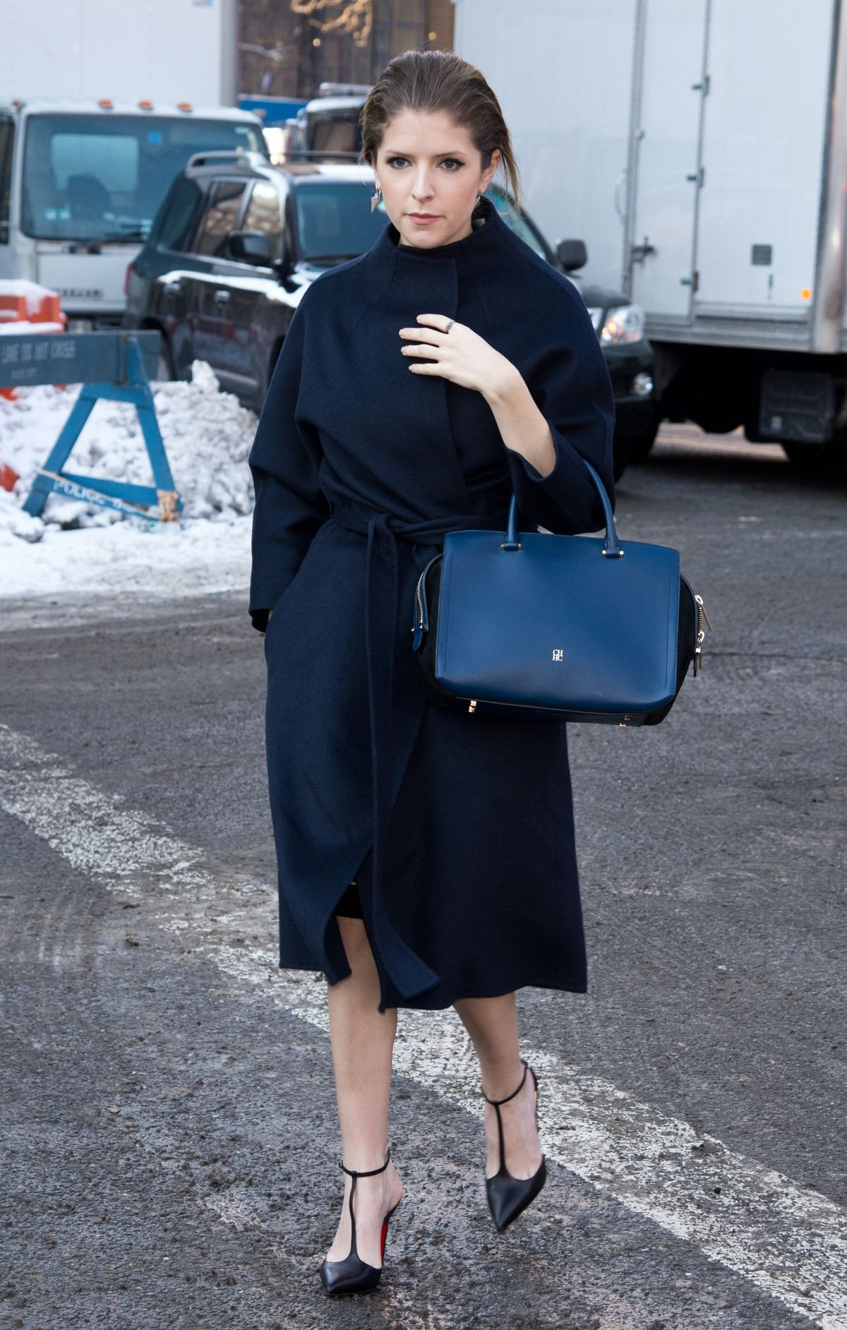 ANNA KENDICK Outin New York During Mercedes-Benz Fashion Week