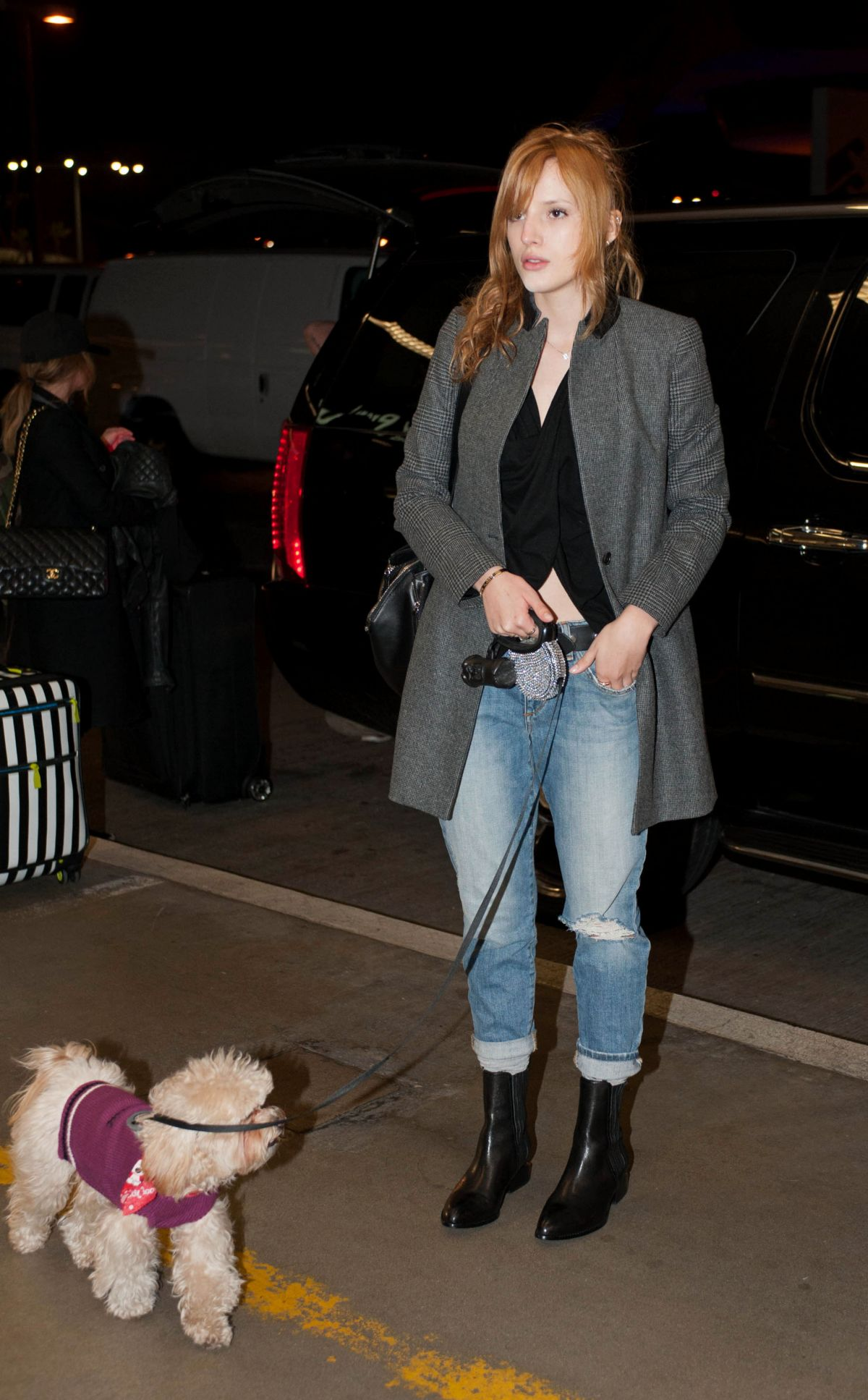 BELLA THORNE and Her Dog Kingston at LAX Airport