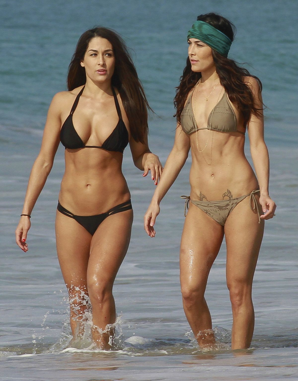 BELLA TWINS, BRIANNA and NICOLE Garcia-Colace in Bikini on the Beach Los Angeles