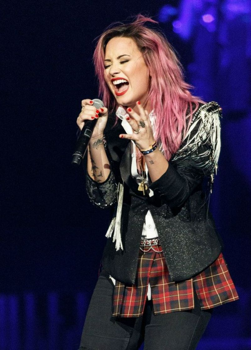 DEMI LOVATO at The Neon Lights Tour Opening Concert in Vancouver