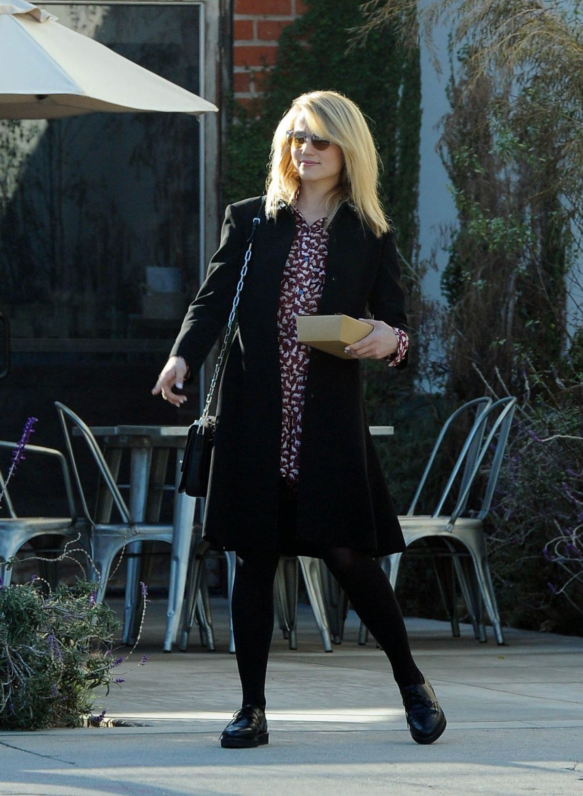 DIANNA AGRON Leaves a Restaurant in Los Angeles
