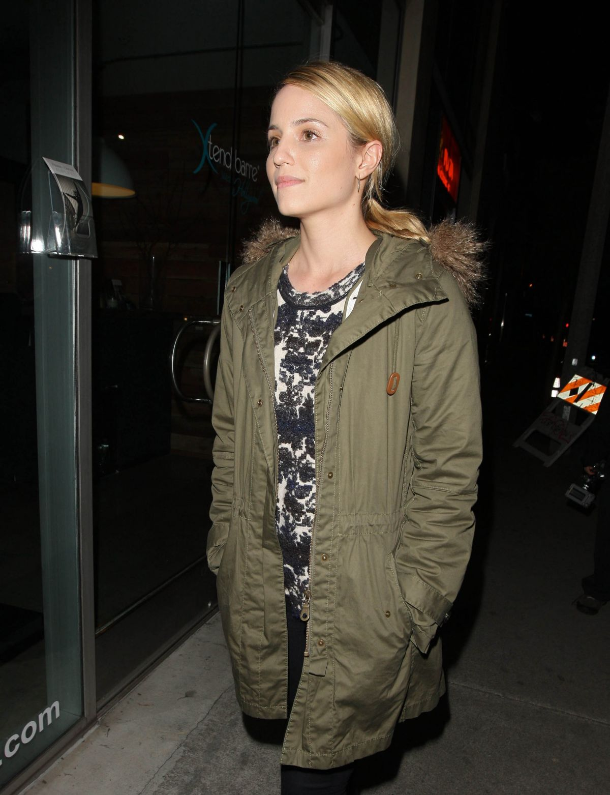 DIANNA AGRON Leaves a Restaurant in West Hollywood