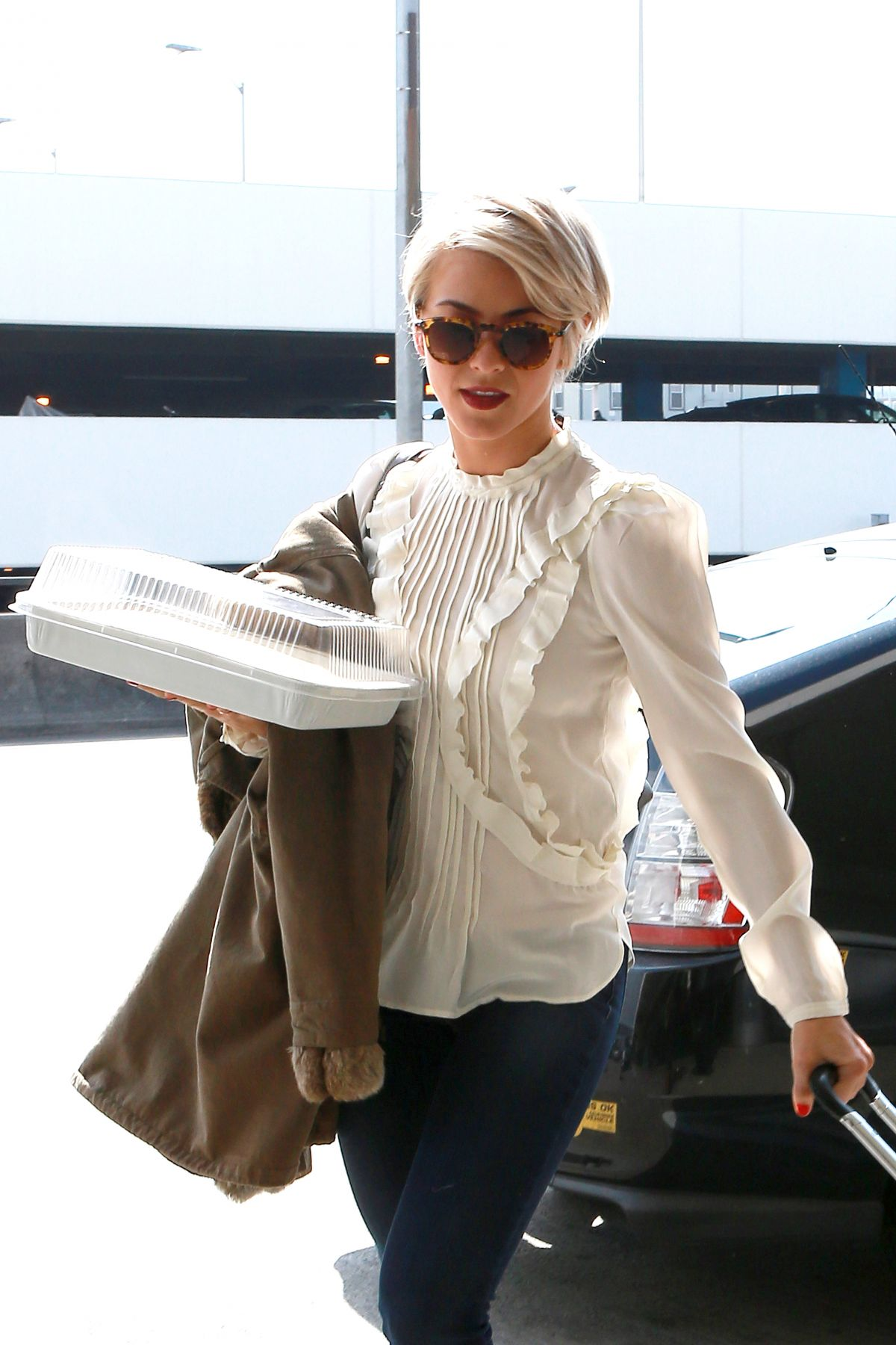 JULIANE HOUGH Sports Much Shorter Hair at LAX Airport