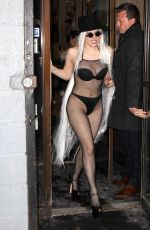 LADY GAGA in a Fishnet Bodysuit Out in New York