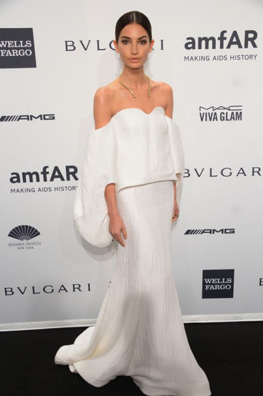 LILY ALDRIDGE at 2014 AMFAR Gala in New York