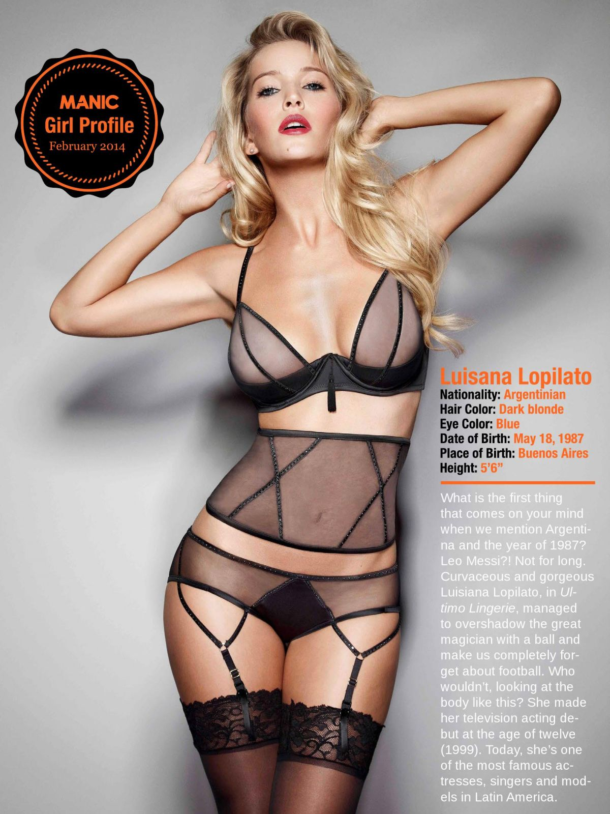 LUISANA LOPILATO in Manic Magazine, February 2014 Issue