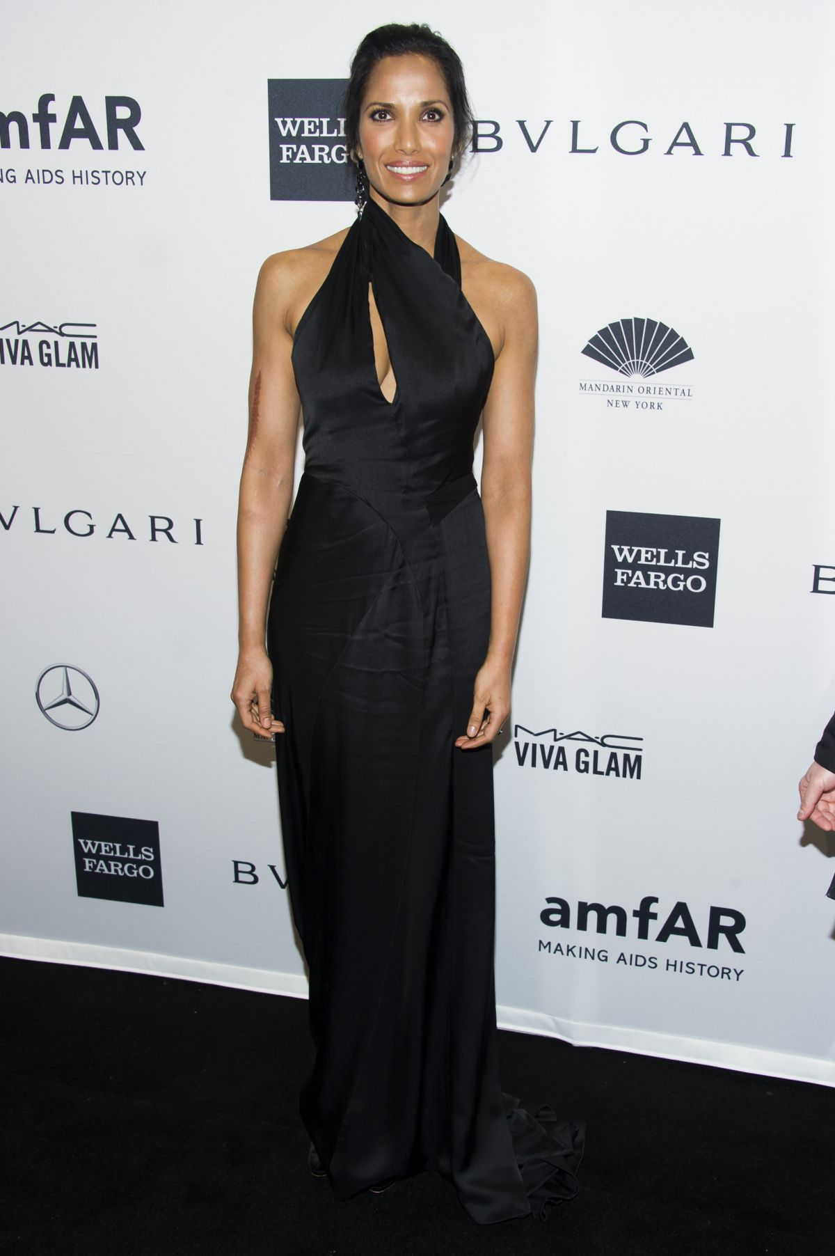 PADMA LAKSHMI at 2014 AMFAR Gala in New York