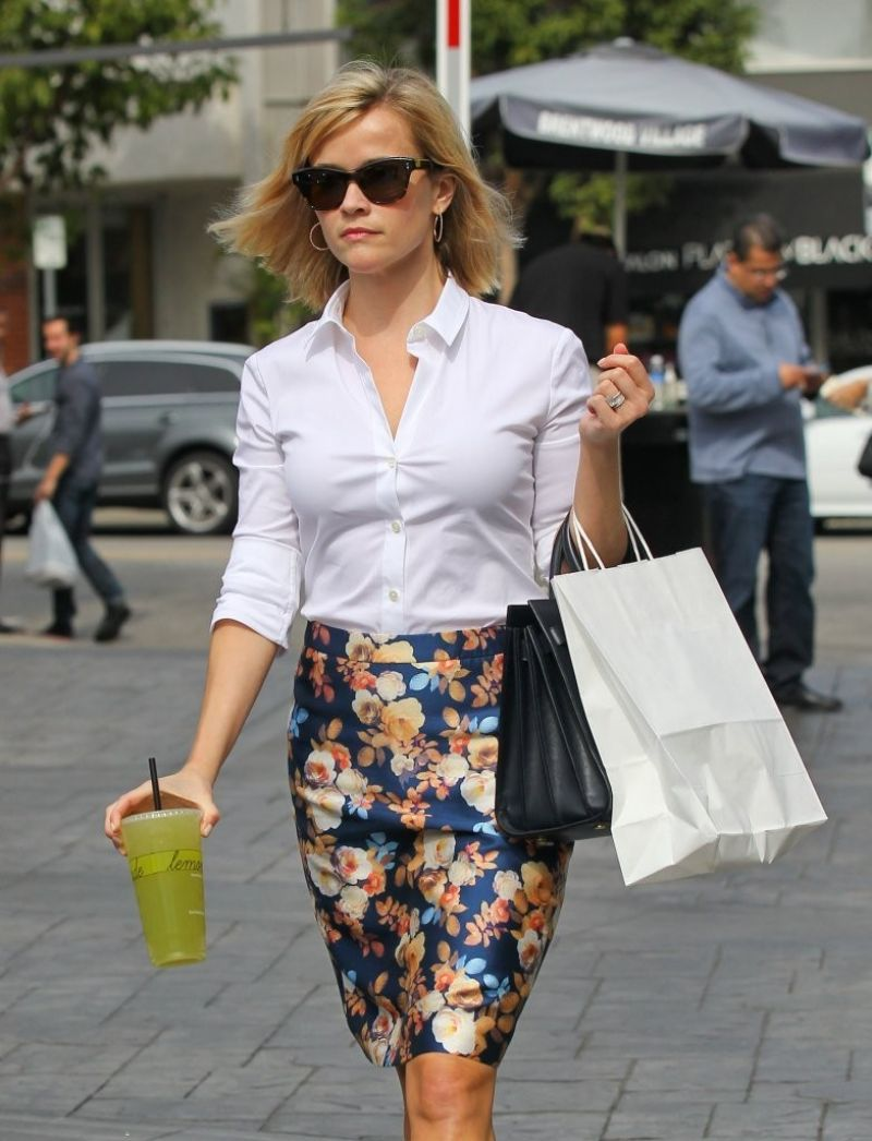 REESE WITHERSPOON in Skirt Out and About in Los Angeles