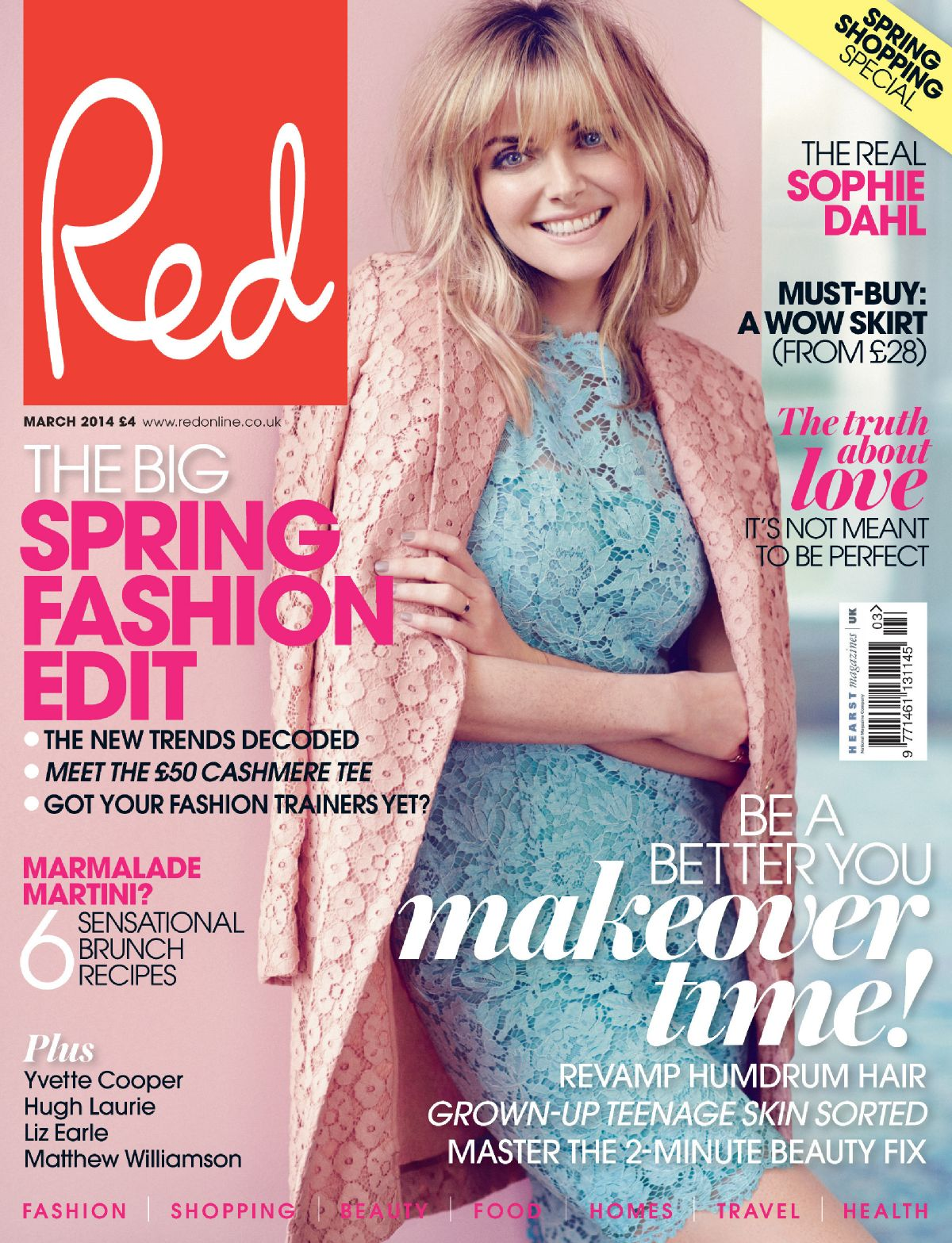 SOPHIE DAHL on the Cover of Red Magazine, UK March 2014 Issue