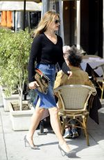 ALI LARTER in Jeans Skirt Out in Beverly Hills
