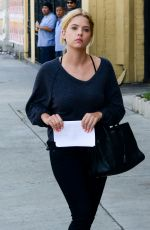 ASHLEY BENSON Arrives at a Business Meeting in Hollywood