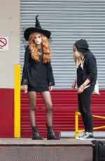 BELLA THORNE in Witch Costume at the Set of a Movie in Los Angeles