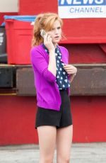 BELLA THORNE on the Set of a Movie in Los Angeles
