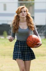 BELLA THORNE Playing Basketball on the Set of Mostly Ghostly 2 in Los Angeles