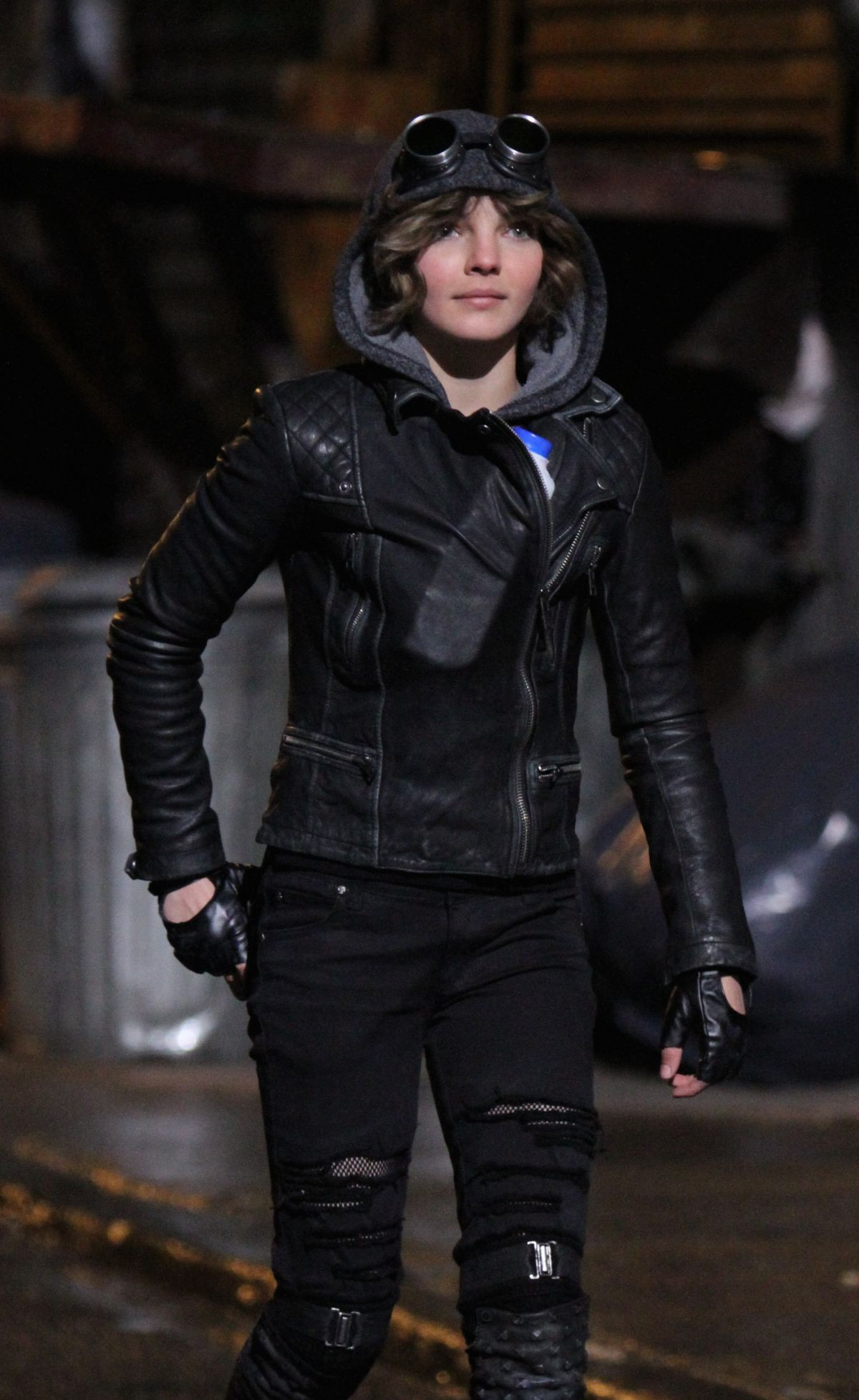 CAMREN BICONDOVA on the set of Gotham TV Series in New York