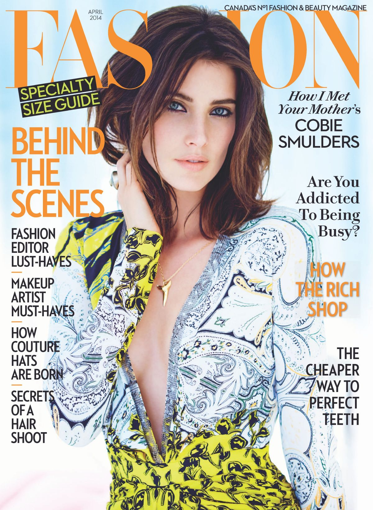 COBIE SMULDERS on the Cover of Fashion Magazine, April 2014 Issue