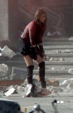 ELIZABETH OLSEN on the Set of Avengers 2: Age of Ultron in Italy