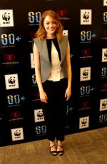 EMMA STONE at Earth Hour Kick-off with Spider-man in Singapore