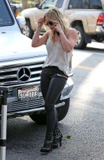 HILARY DUFF in Leather Out in West Hollywood