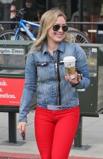 HILARY DUFF in Red Jeans Out in Sherman Oaks
