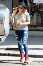 HILARY DUFF in Ripped Jeans Out and About in Beverly Hills