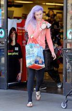 IRELAND BALDWIN with Purple Hair Out Shopping in Tarzana