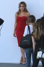 JENNIFER LOPEZ in Red Dress Arrives at American Idol Set in Hollywood