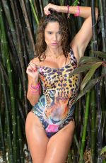 JENNIFER NICOLE LEE in Animal Print Swimsuit at a Pool in Miami