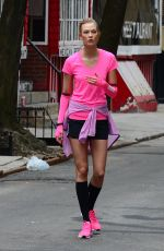 KARLIE KLOSS on the Set of New Nike Running Shoes Photoshoot