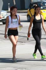 KARREUCHE TRAN with Friend Out and About in Hollywood