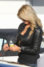KATE UPTON in Jeans and Leather Jacket Out in Beverly Hills