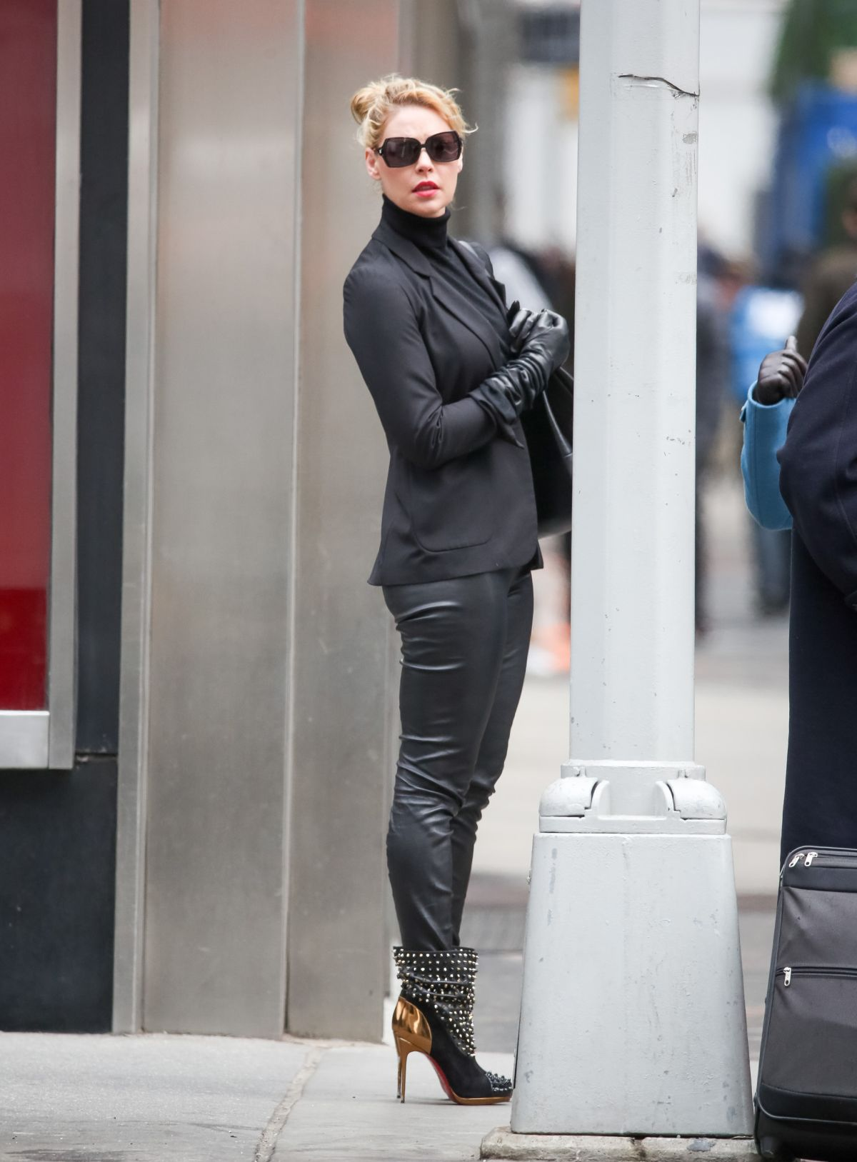 KATHERINE HEIGL in Leather Pants Out in New York