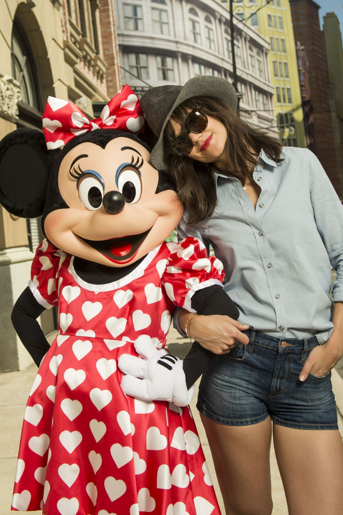 KATIE HOLMES in Daiosy Dukes at Walt Disney World Resort in Florida