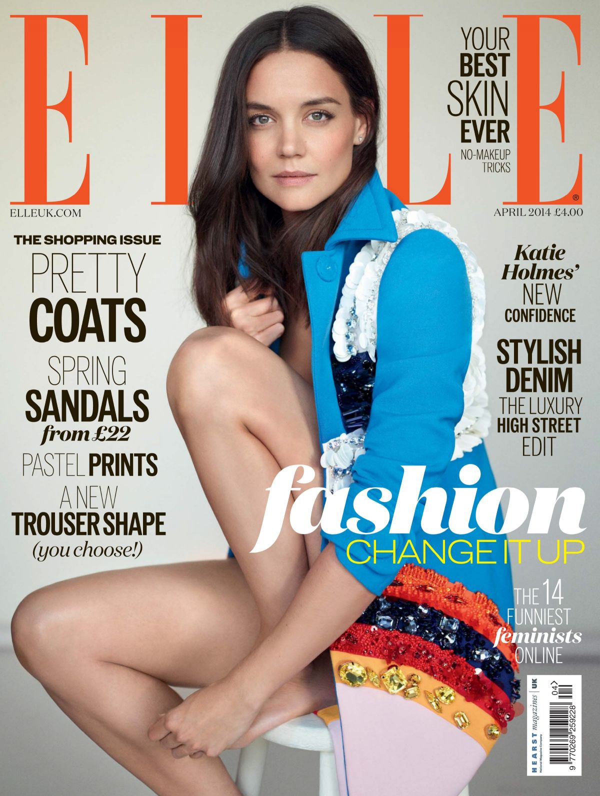 KATIE HOLMES on the Cover of Elle Magazine, April 2014 Issue