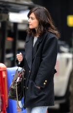KATIE HOLMES on the Set of Dangerous Liaisons in New York