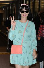KATY PERRY Arrives at Narita International Airport in Tokyo